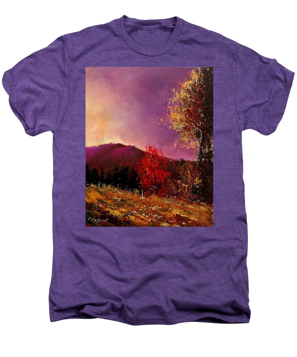 River Men's Premium T-Shirt featuring the painting Fall Colors by Pol Ledent