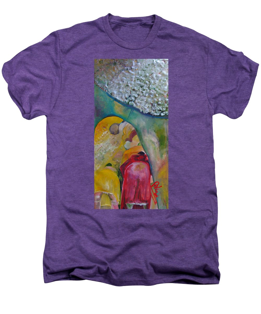 Cotton Men's Premium T-Shirt featuring the painting Fields Of Cotton by Peggy Blood