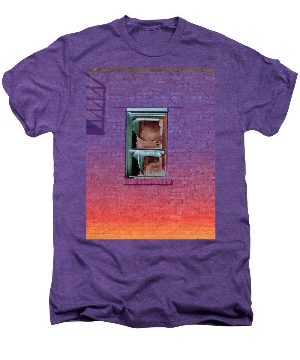 Architecture Men's Premium T-Shirt featuring the photograph Fire Escape Window 2 by Tim Allen
