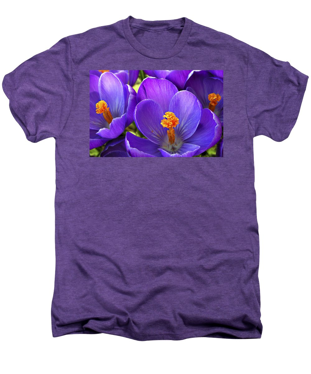 Flower Men's Premium T-Shirt featuring the photograph First Crocus by Marilyn Hunt