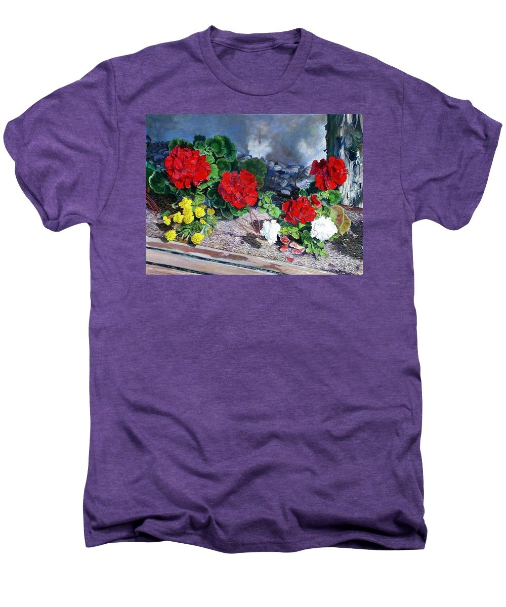 Colorful Flowers Outside Of The Church Men's Premium T-Shirt featuring the painting Flowers At Church by Scott Robertson