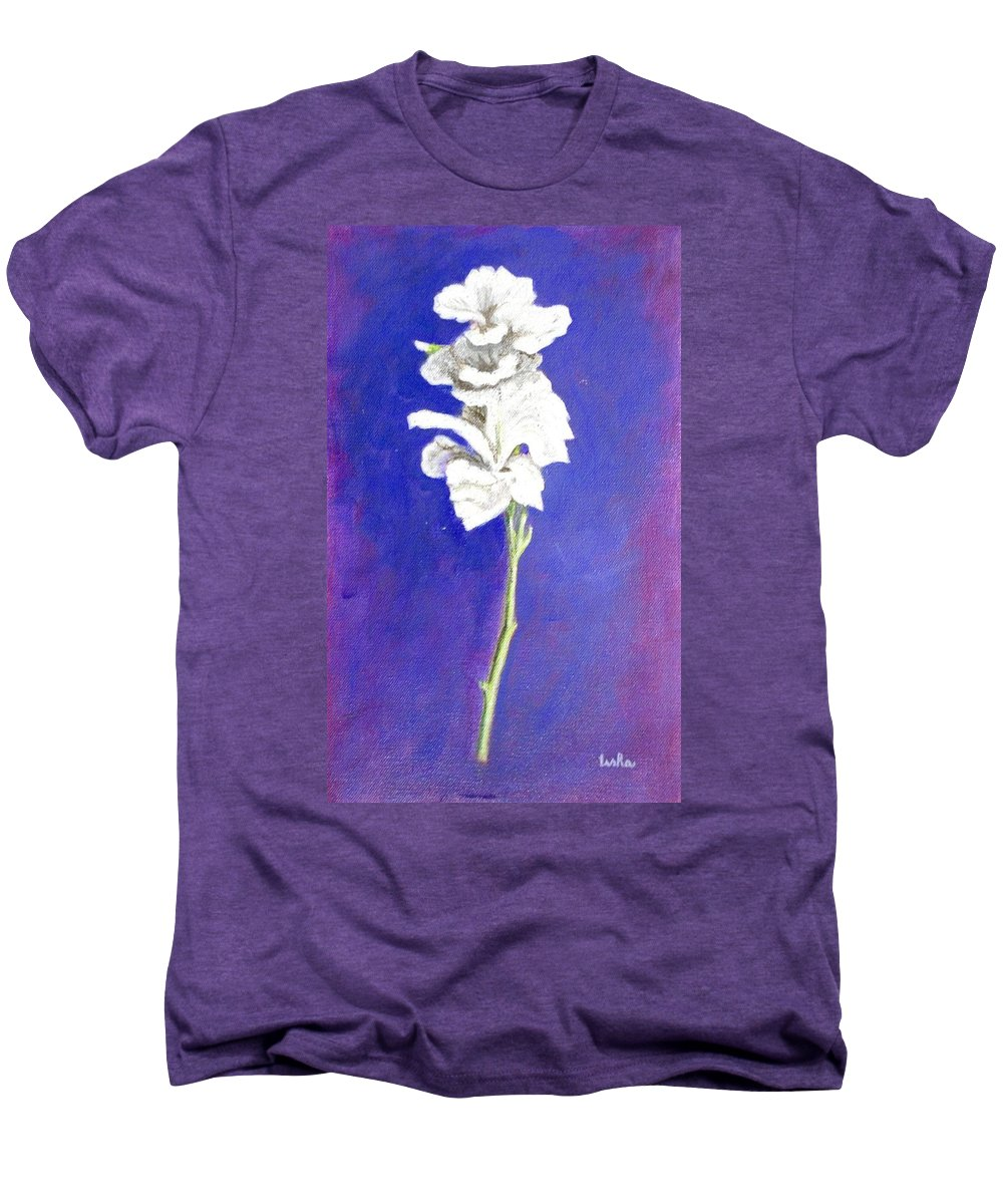Flower Men's Premium T-Shirt featuring the painting Gladiolus 1 by Usha Shantharam