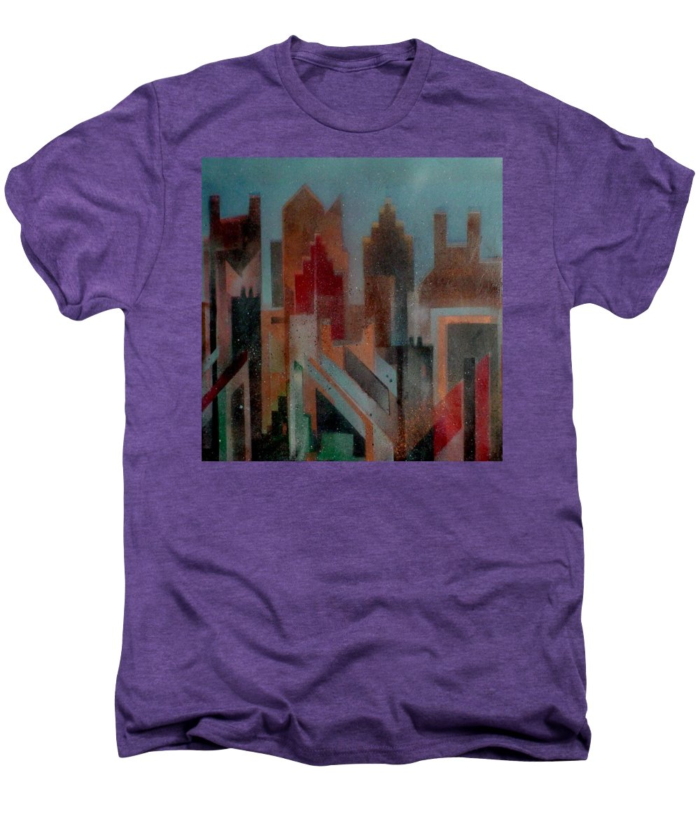 Abstract Men's Premium T-Shirt featuring the painting Gothem City by Anita Burgermeister