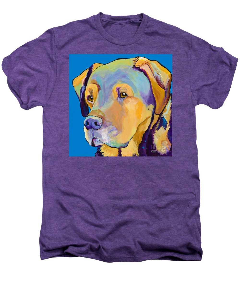 Dog Portrait Men's Premium T-Shirt featuring the painting Gunner by Pat Saunders-White