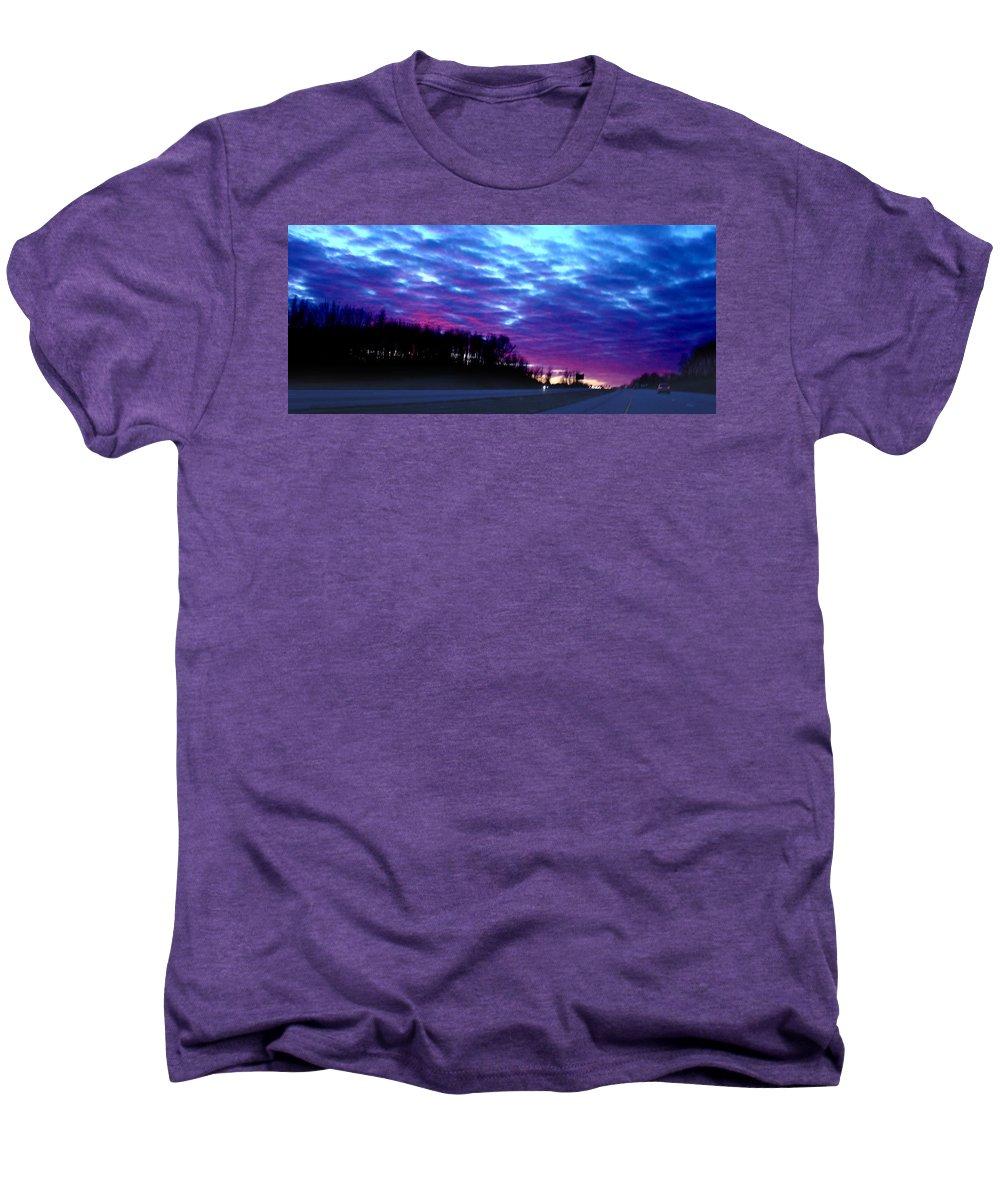 Landscape Men's Premium T-Shirt featuring the photograph I70 West Ohio by Steve Karol