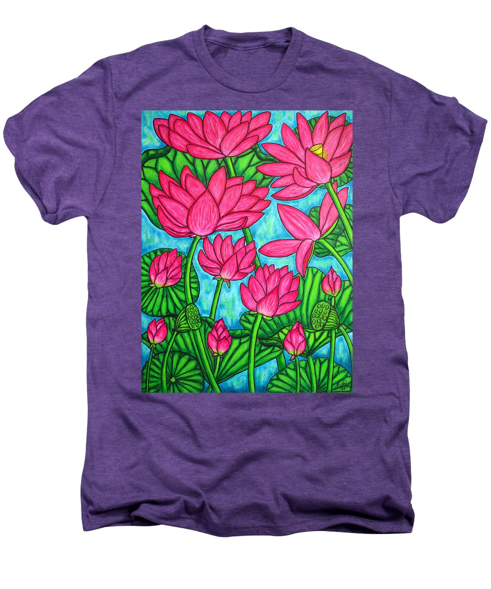 Men's Premium T-Shirt featuring the painting Lotus Bliss by Lisa Lorenz