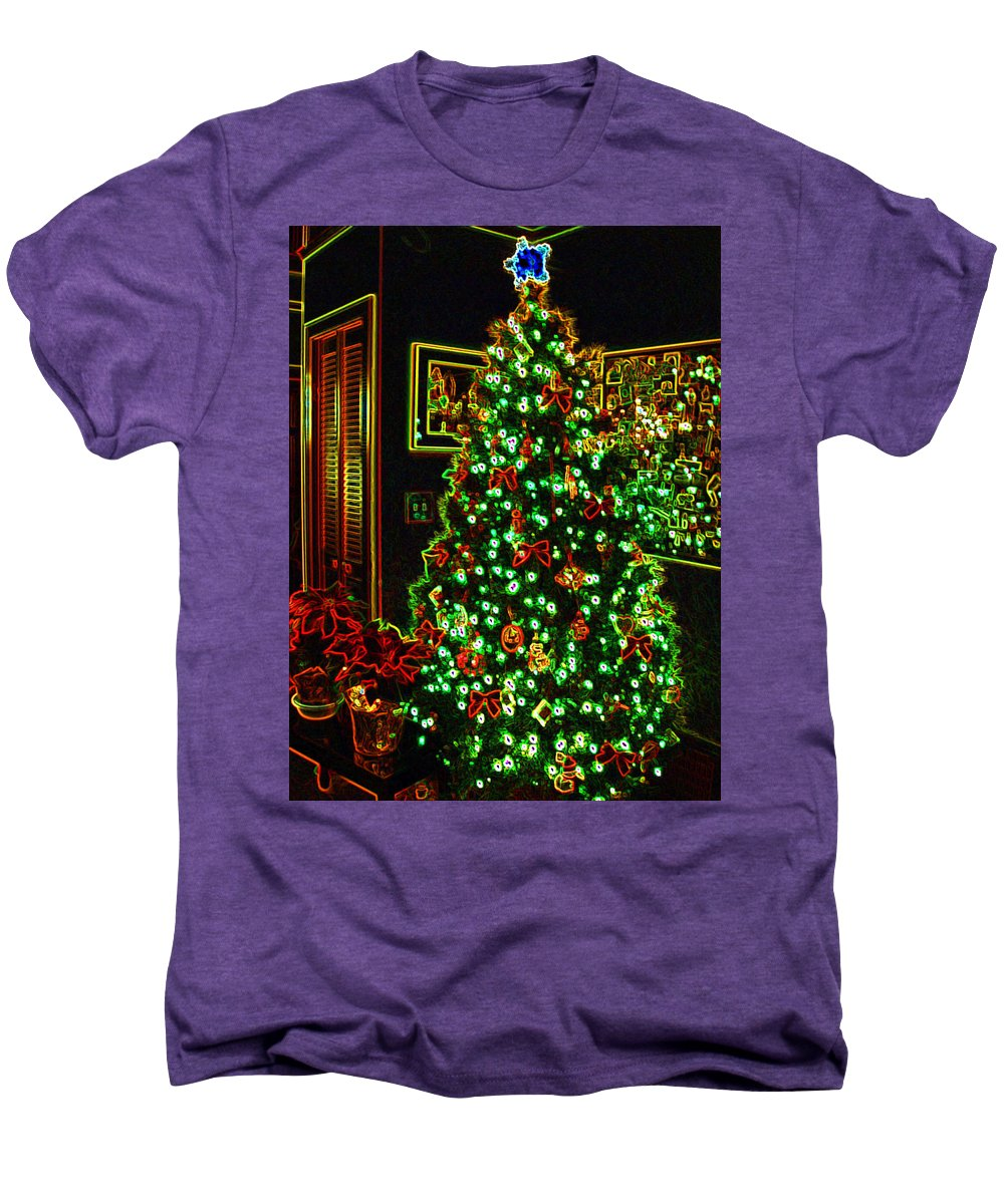 Christmas Men's Premium T-Shirt featuring the photograph Neon Christmas Tree by Nancy Mueller