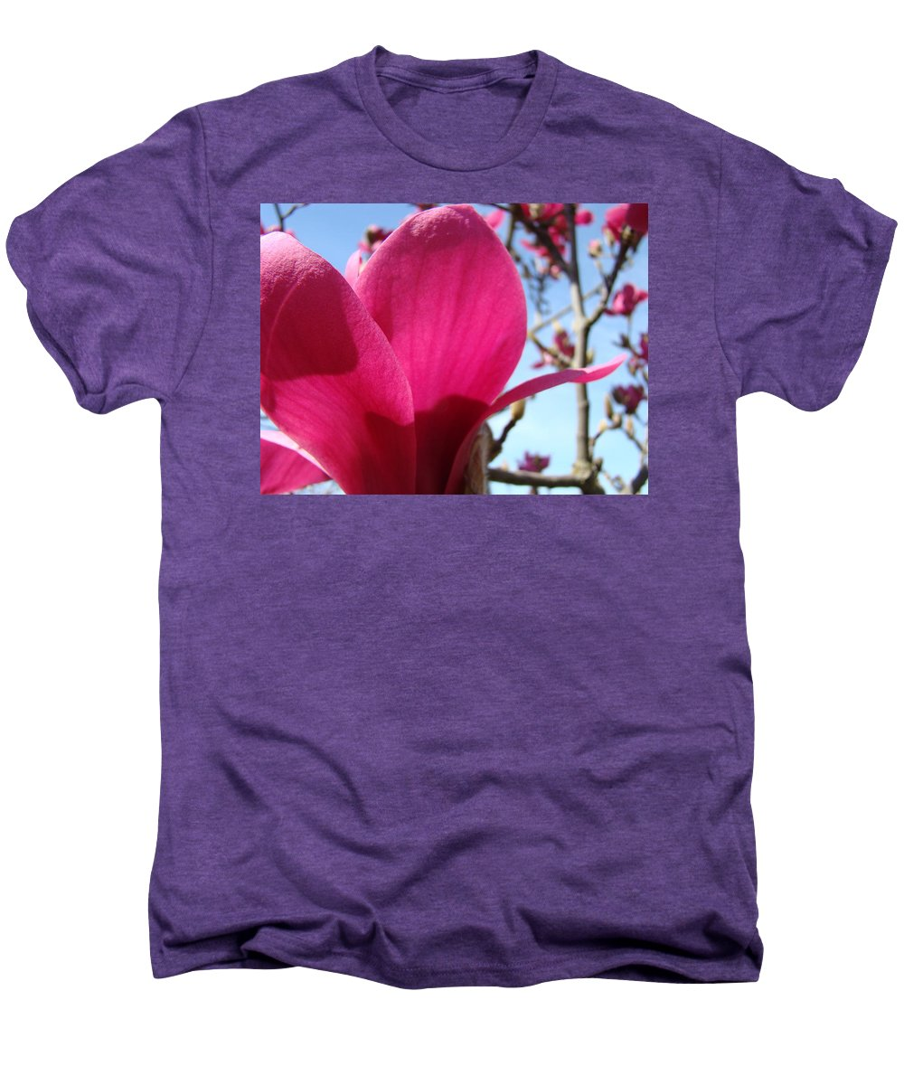 Magnolia Men's Premium T-Shirt featuring the photograph Pink Magnolia Flowers Magnolia Tree Spring Art by Baslee Troutman