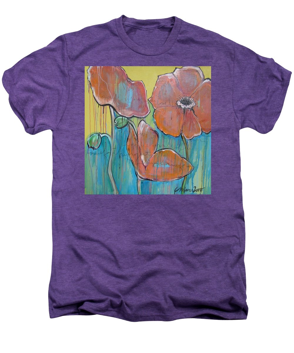 Pop Art Men's Premium T-Shirt featuring the painting Poppies 3 by Laurie Maves ART
