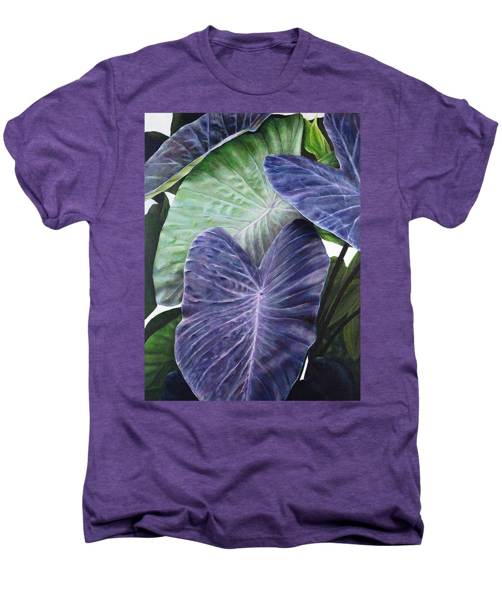 Acrylic Men's Premium T-Shirt featuring the painting Purple Taro by Sandra Blazel - Printscapes