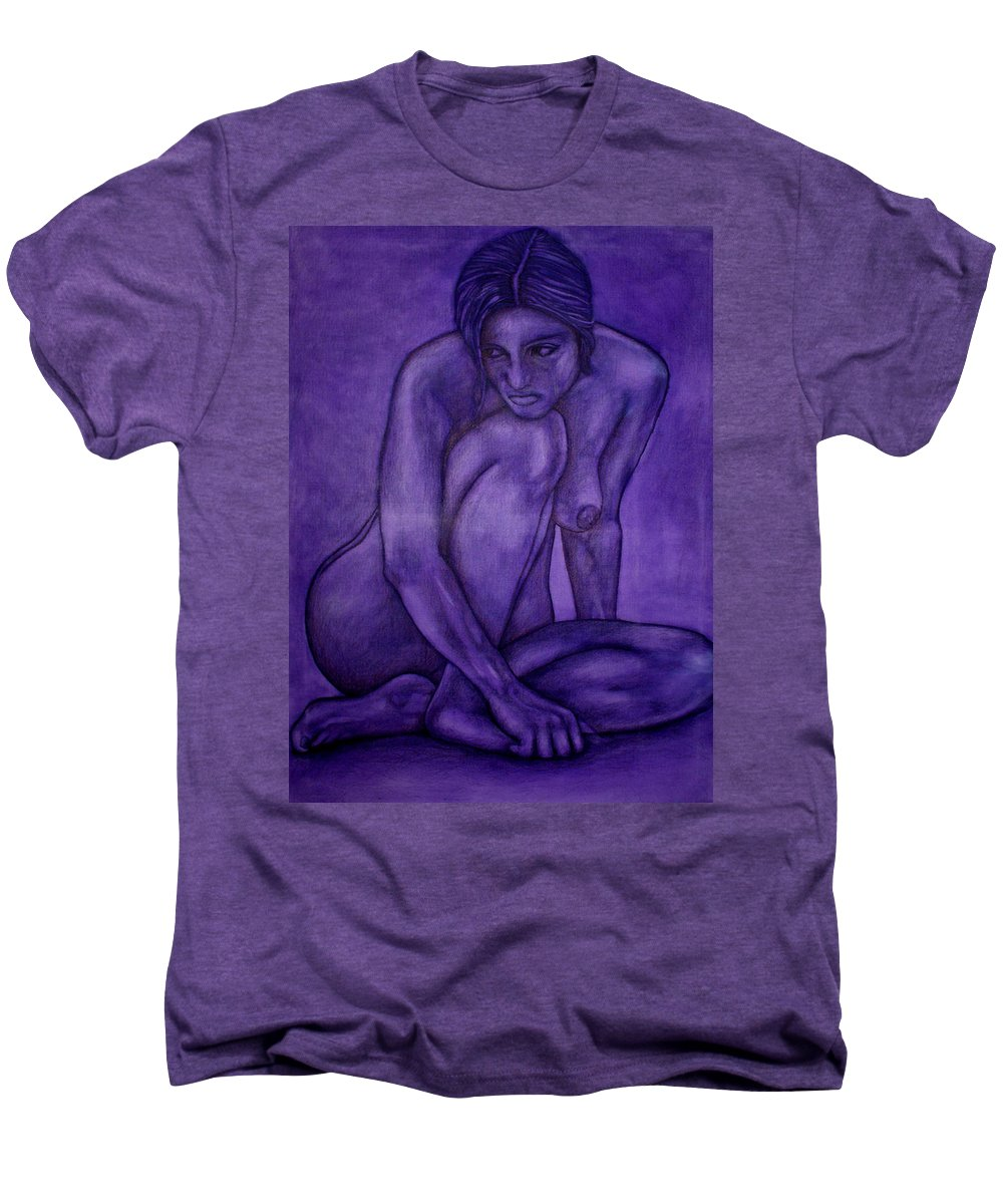 Nude Women Men's Premium T-Shirt featuring the painting Purple by Thomas Valentine