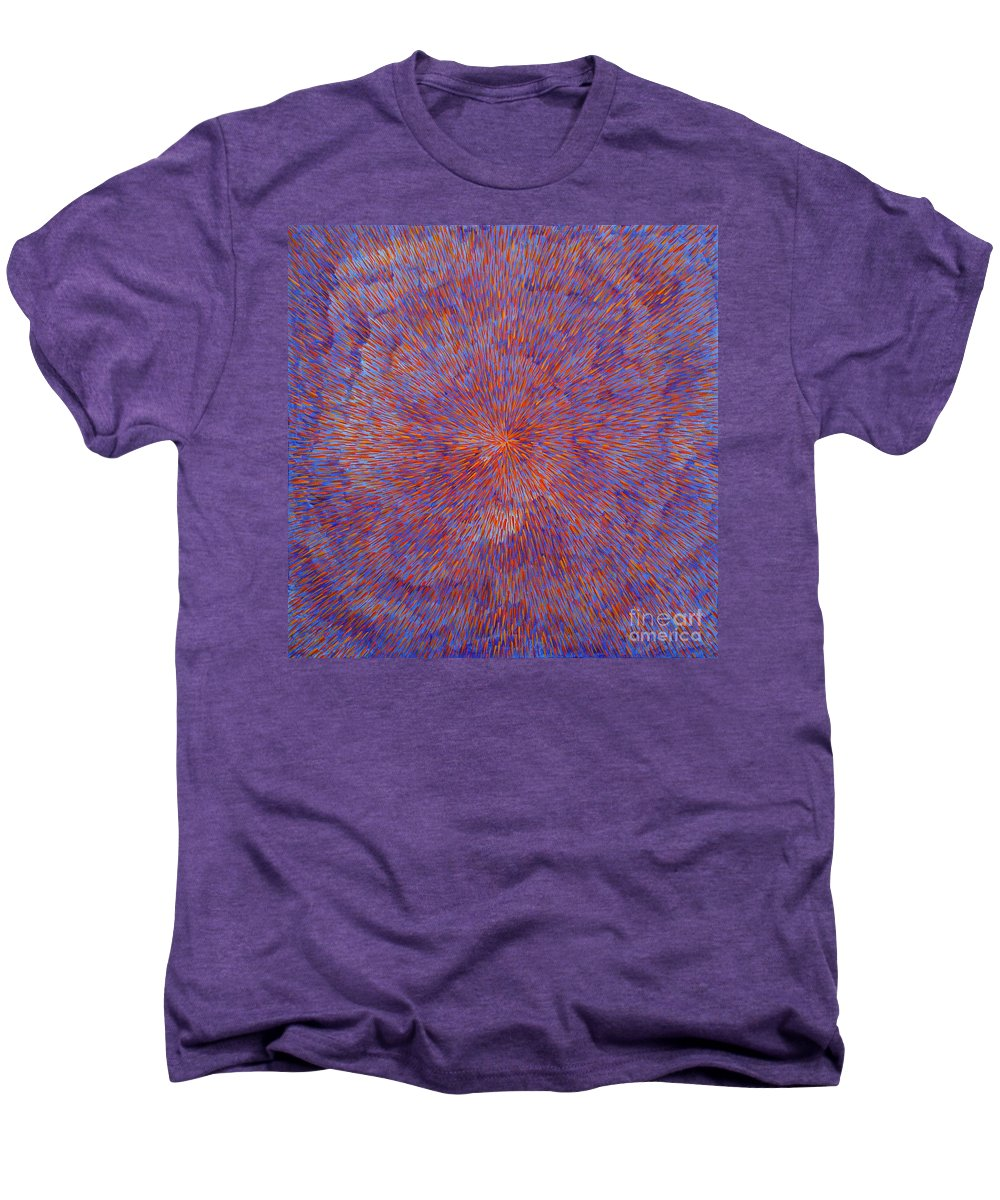 Abstract Men's Premium T-Shirt featuring the painting Radiation With Blue And Red by Dean Triolo