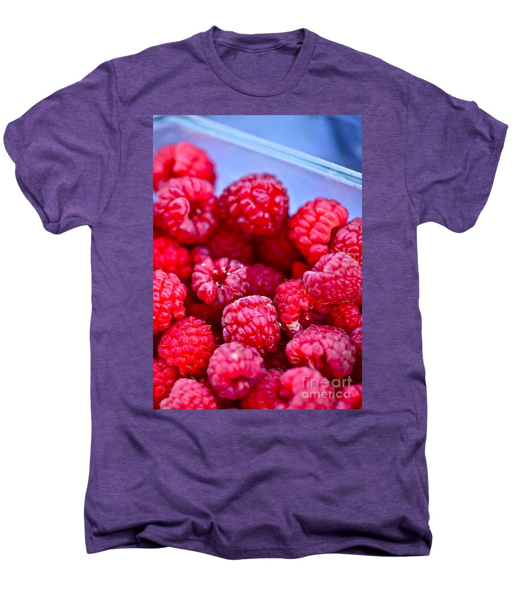 Red Men's Premium T-Shirt featuring the photograph Ruby Raspberries by Nadine Rippelmeyer