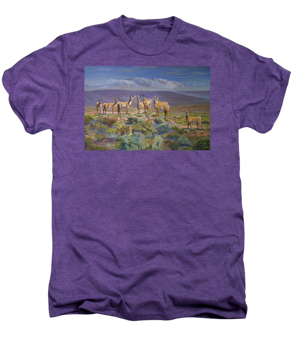 Antelope Men's Premium T-Shirt featuring the painting Say Cheese Antelope by Heather Coen