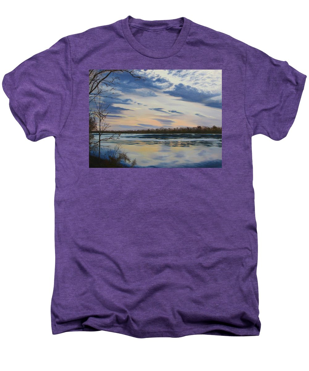 Clouds Men's Premium T-Shirt featuring the painting Scenic Overlook - Delaware River by Lea Novak