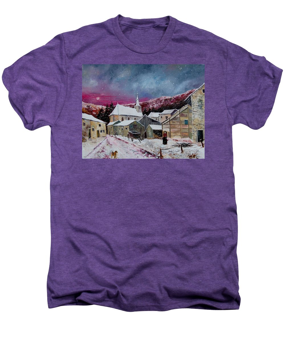 Snow Men's Premium T-Shirt featuring the painting Snow Is Falling by Pol Ledent