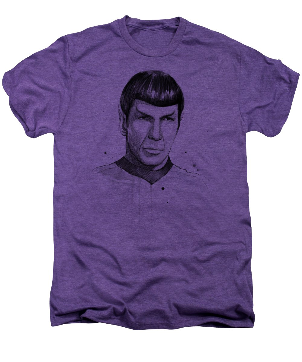 Star Trek Men's Premium T-Shirt featuring the painting Spock Watercolor Portrait by Olga Shvartsur