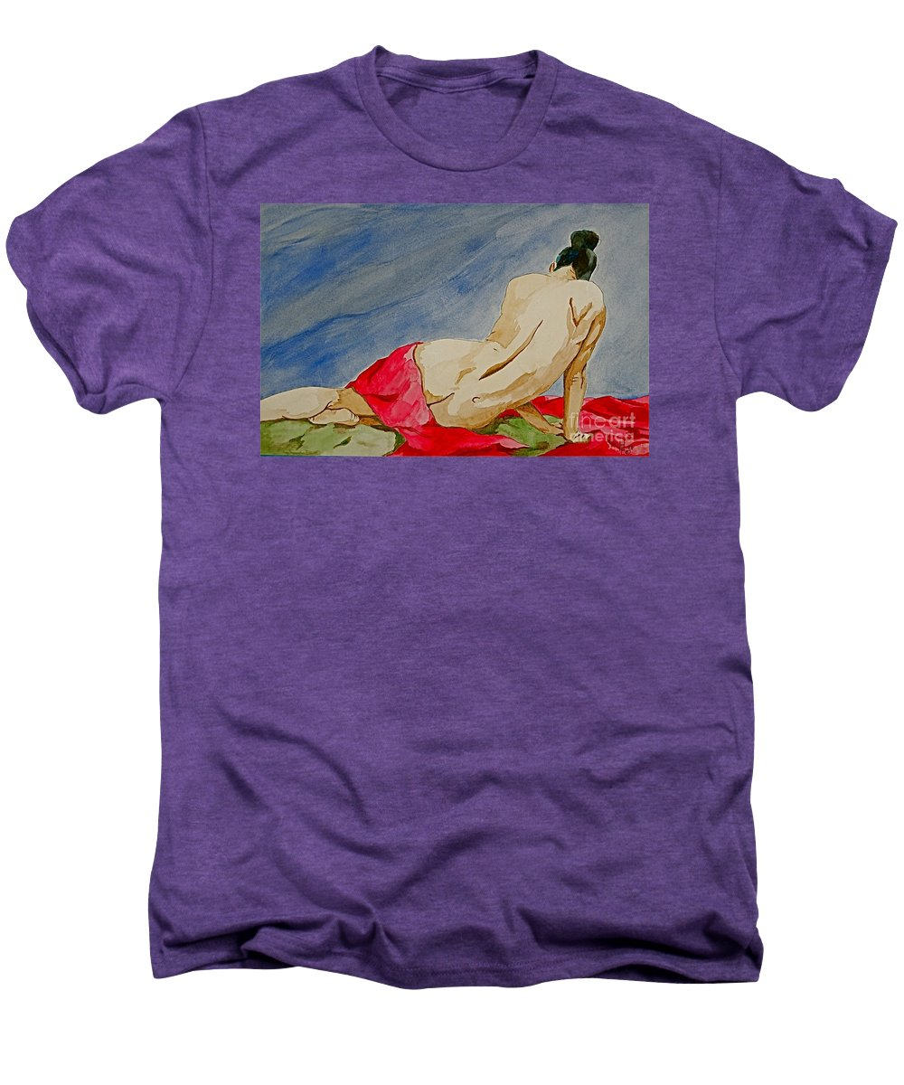Nudes Red Cloth Men's Premium T-Shirt featuring the painting Summer Morning 2 by Herschel Fall