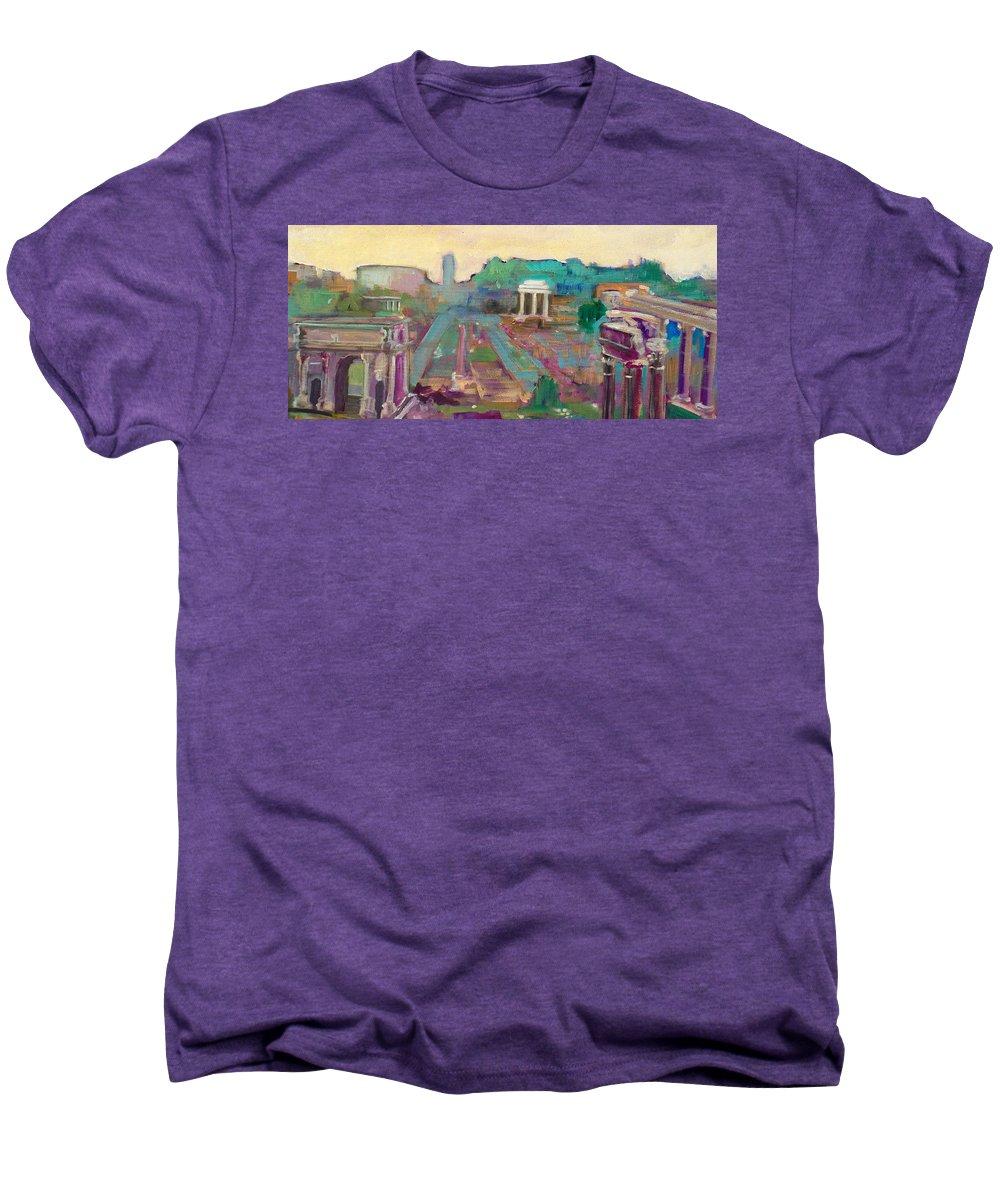 Rome Men's Premium T-Shirt featuring the painting The Forum Romanum by Kurt Hausmann