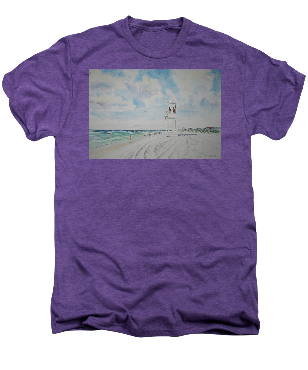 Ocean Men's Premium T-Shirt featuring the painting Waiting For The Lifeguard by Tom Harris