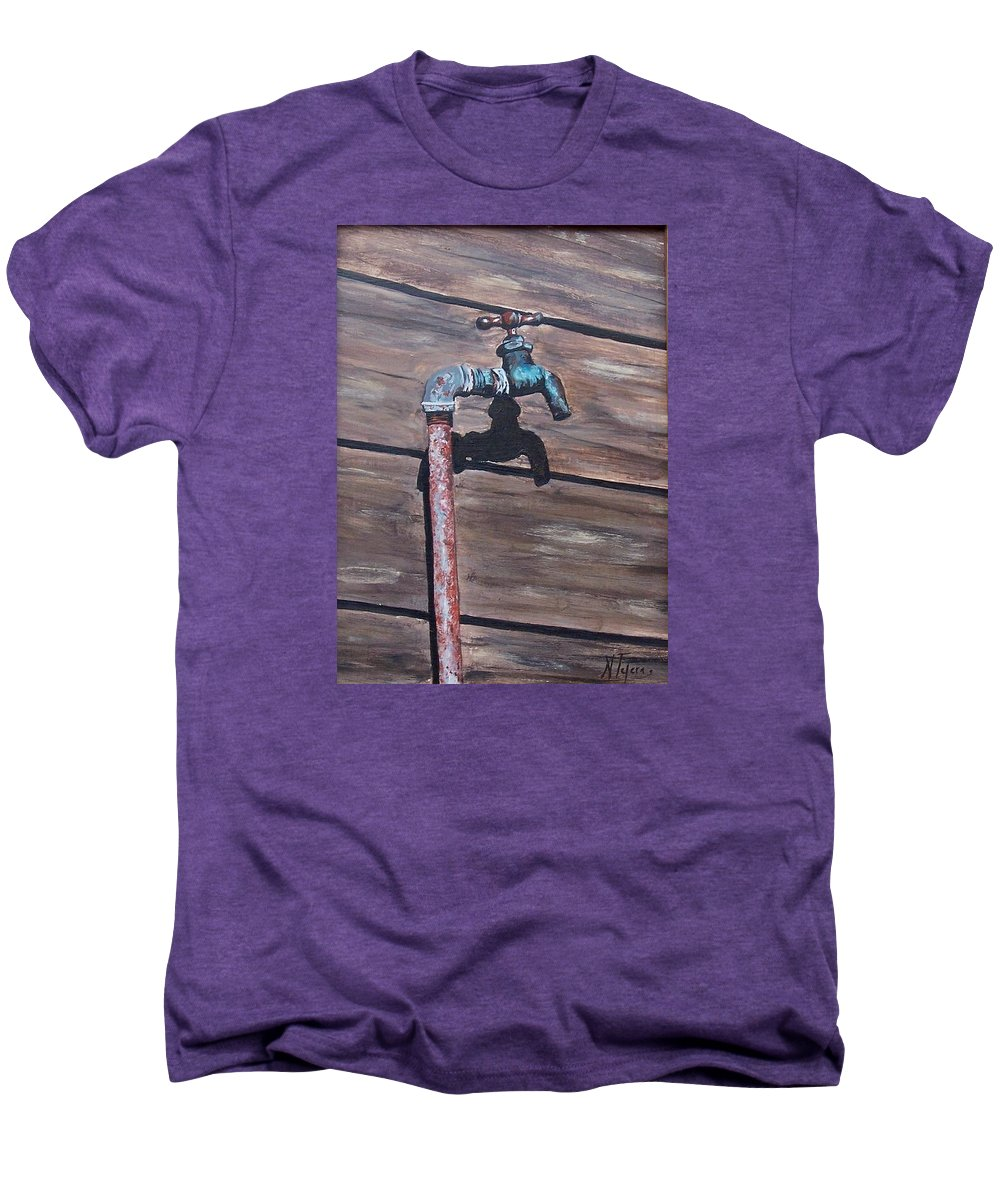 Still Life Metal Old Wood Men's Premium T-Shirt featuring the painting Wood And Metal by Natalia Tejera