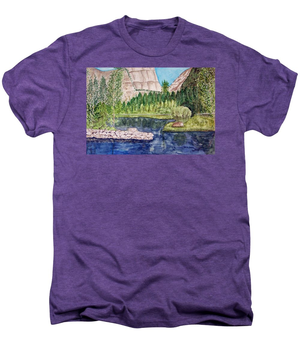Yosemite National Park Men's Premium T-Shirt featuring the painting Yosemite by Larry Wright