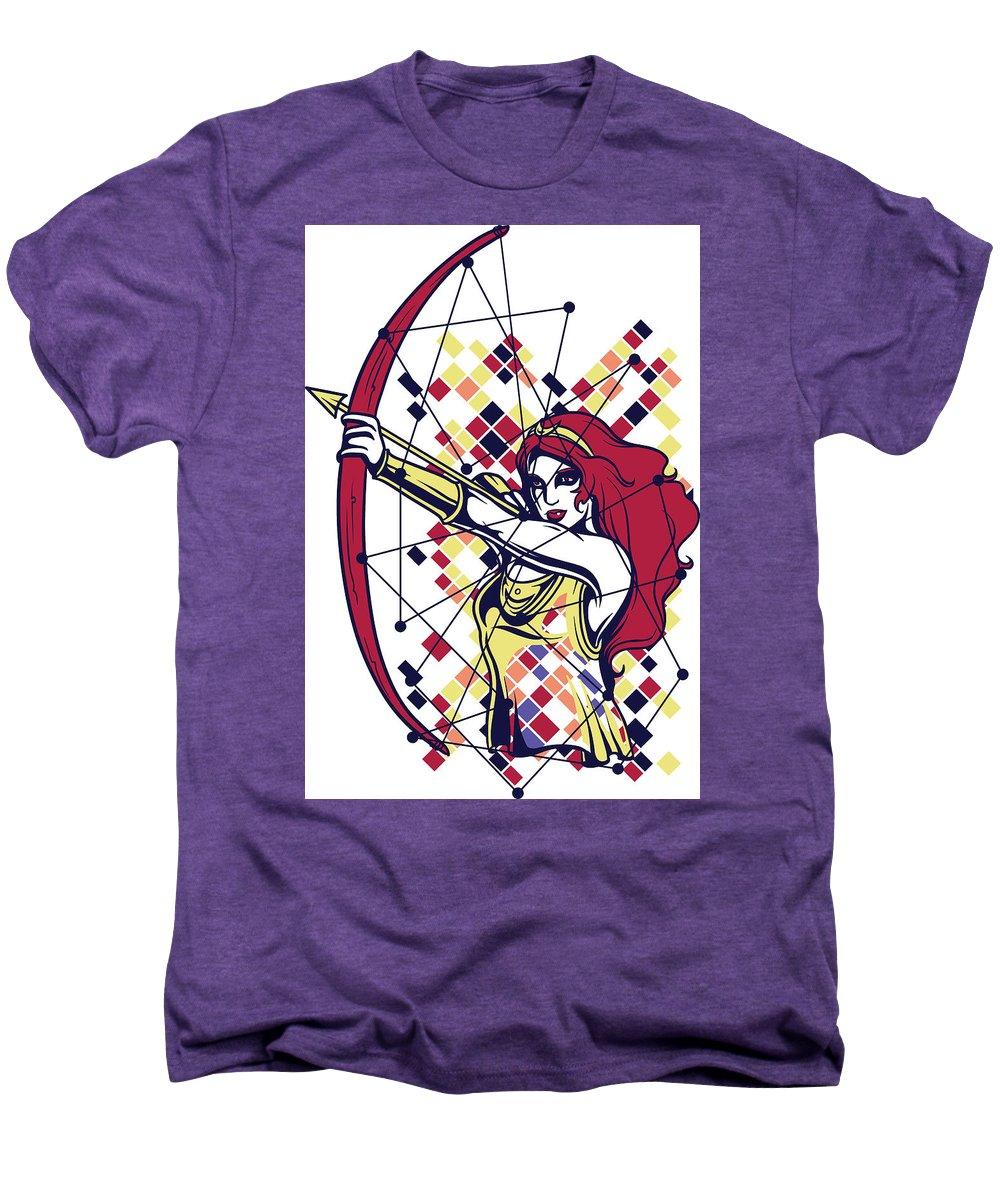 Greek-mythology Men's Premium T-Shirt featuring the digital art Artemis Greek Olympian Goddess Archery by Passion Loft