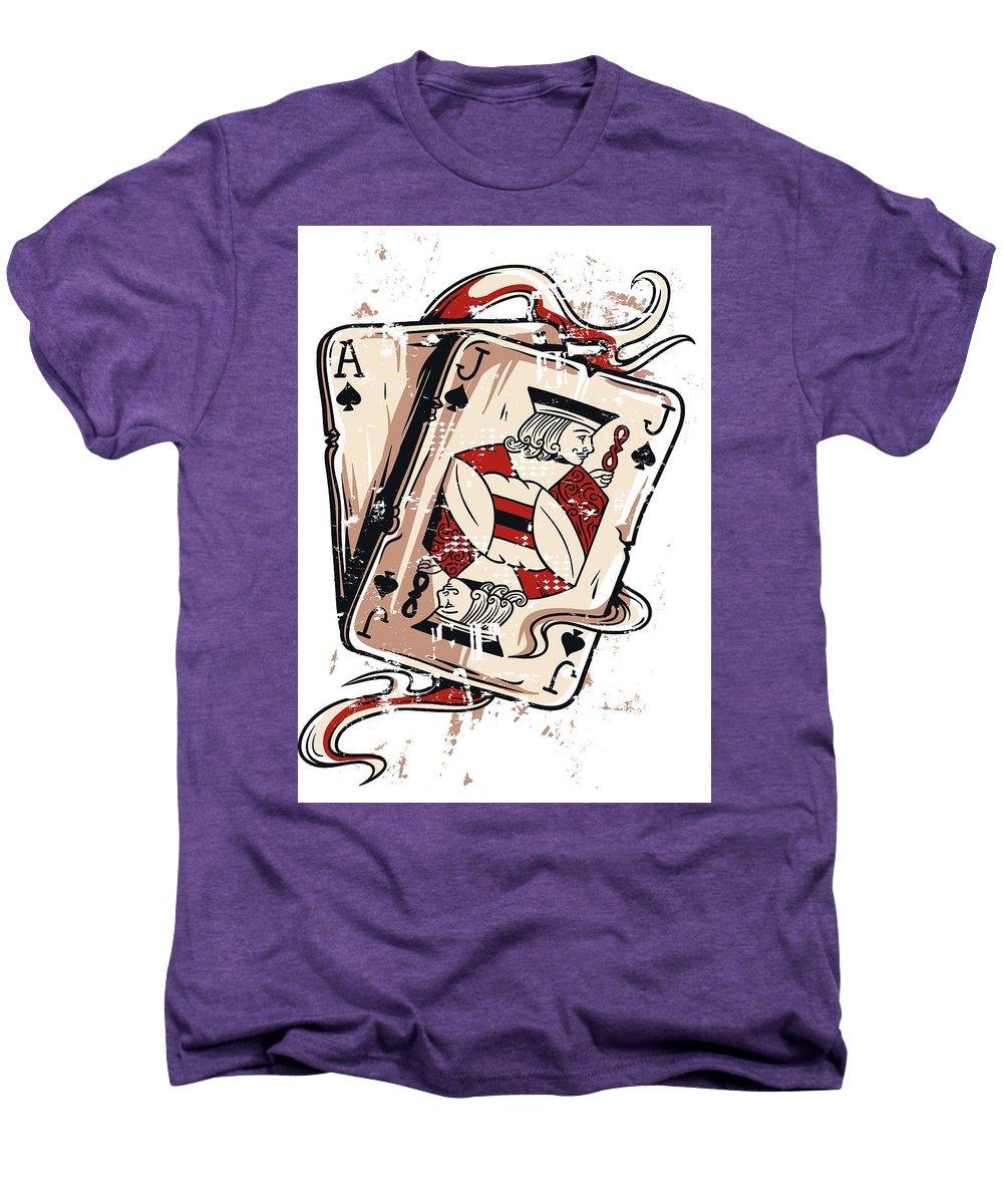 Card-games Men's Premium T-Shirt featuring the digital art Blackjack by Passion Loft