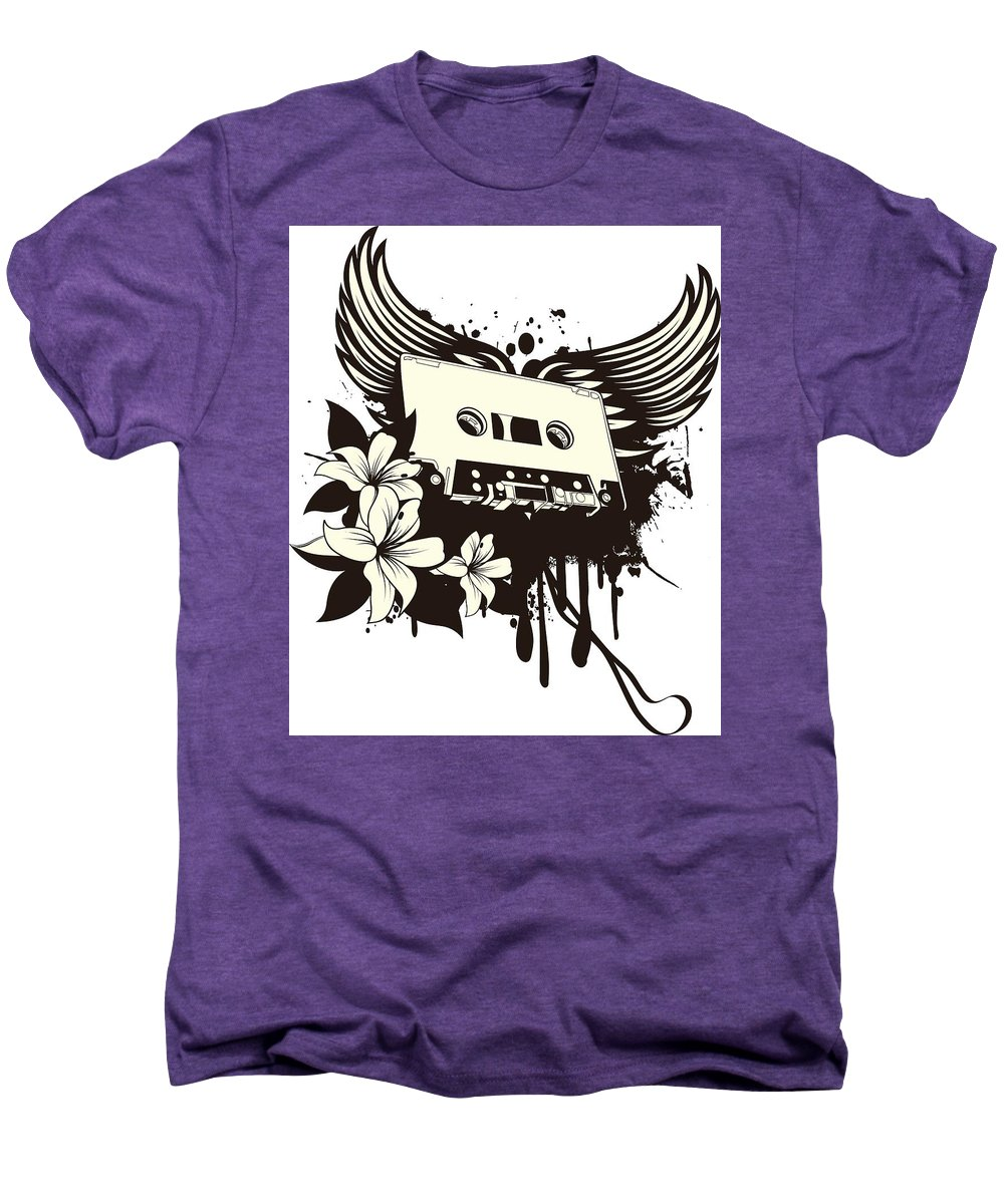 Gothic Men's Premium T-Shirt featuring the digital art Cassette Tape With Wings by Passion Loft