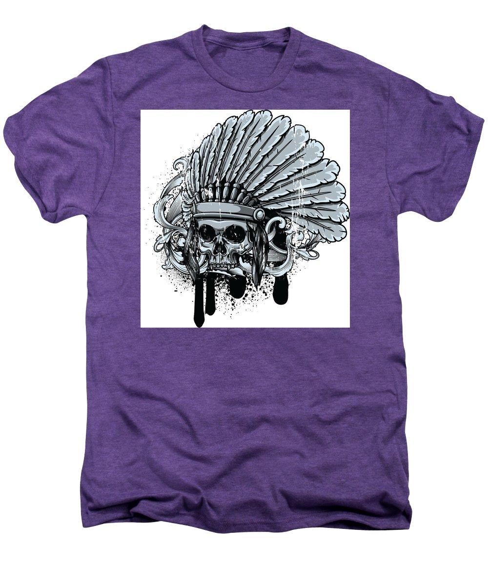 Skull Men's Premium T-Shirt featuring the digital art Chebeya Skull With Headdress by Passion Loft