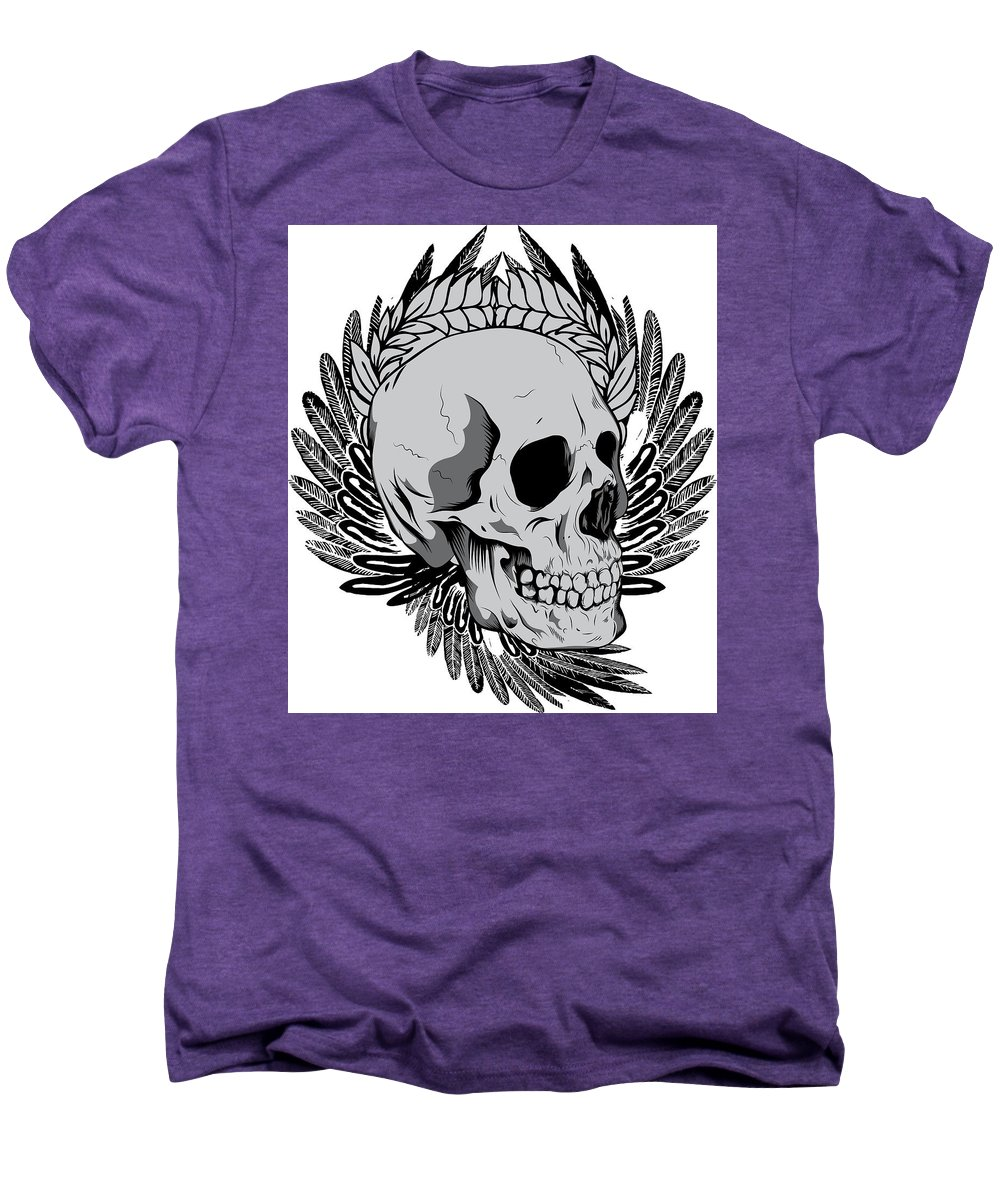 Halloween Men's Premium T-Shirt featuring the digital art Feathered Skull by Passion Loft