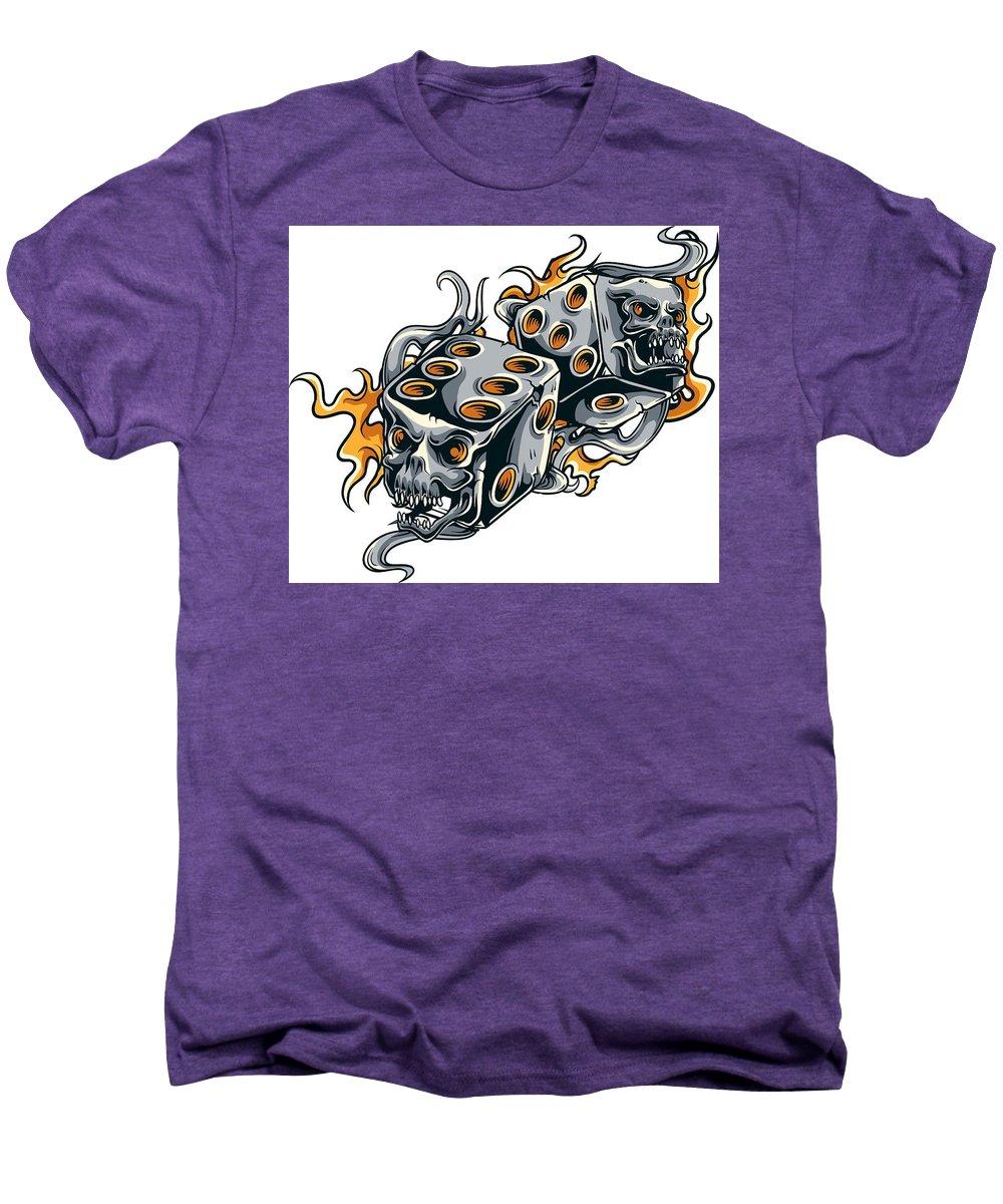 Skull Men's Premium T-Shirt featuring the digital art Fiery Skull Dice by Passion Loft