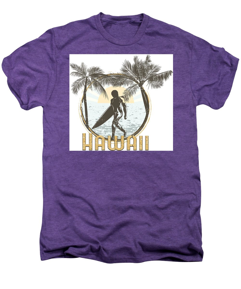 Beach Men's Premium T-Shirt featuring the digital art Hawaii Surfer On Beach by Passion Loft