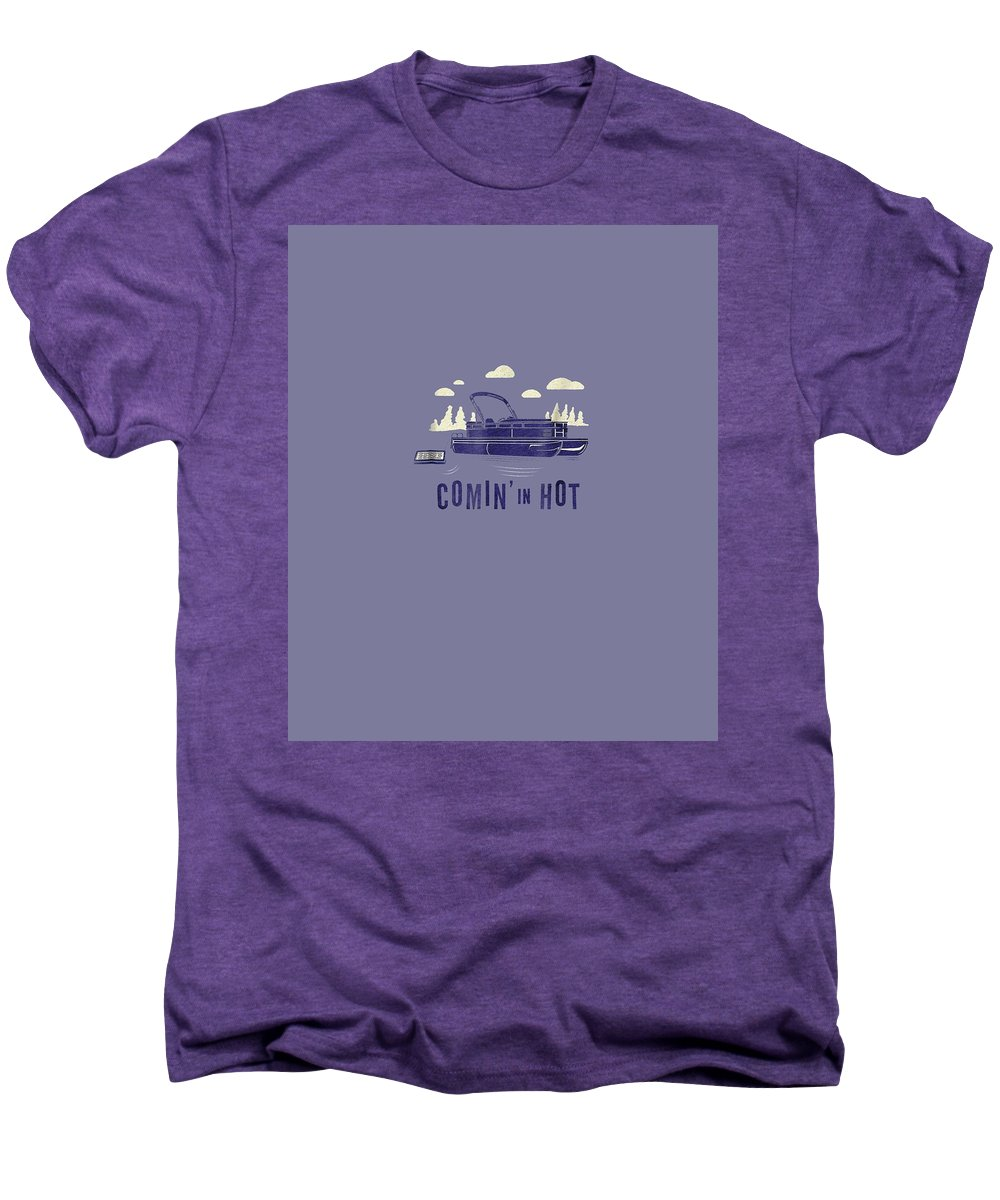 men's Novelty T-shirts Men's Premium T-Shirt featuring the digital art Pontoon Captain Shirt - Funny Comin' In Hot Boating Tee by Unique Tees
