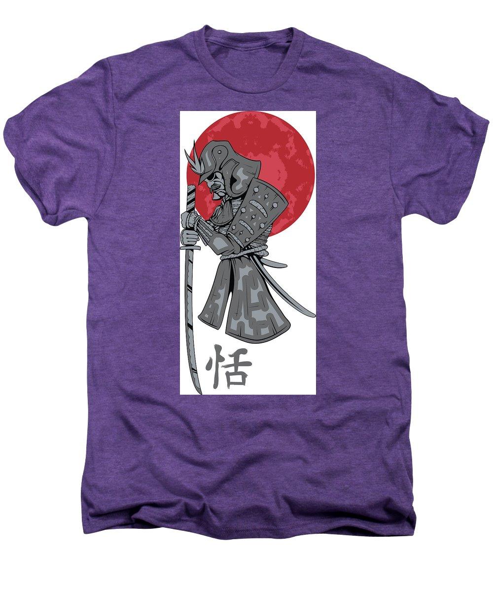Japanese Men's Premium T-Shirt featuring the digital art Red Sun Samurai by Passion Loft