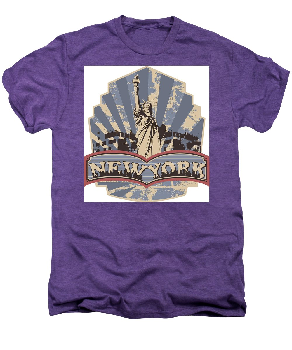 4th-of-july Men's Premium T-Shirt featuring the digital art Statue Of Liberty New York by Passion Loft