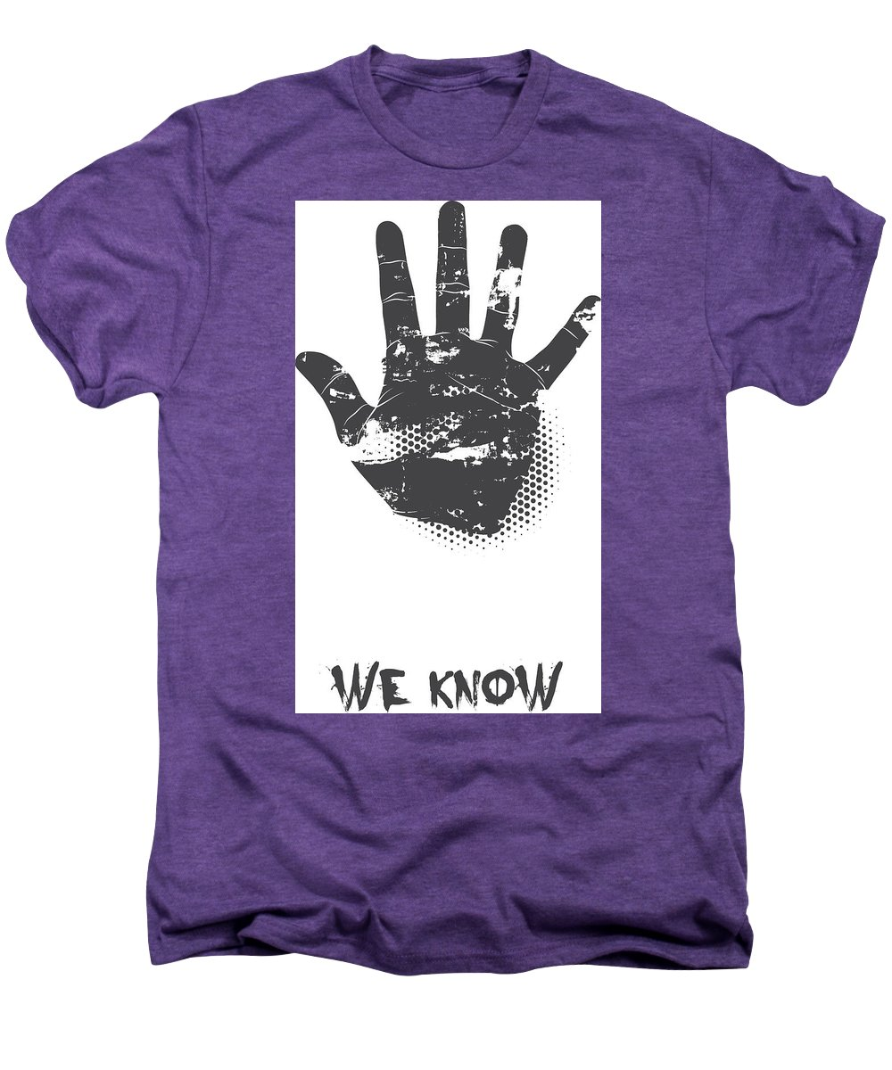 Halloween Men's Premium T-Shirt featuring the digital art We Know Grungy Palm by Passion Loft