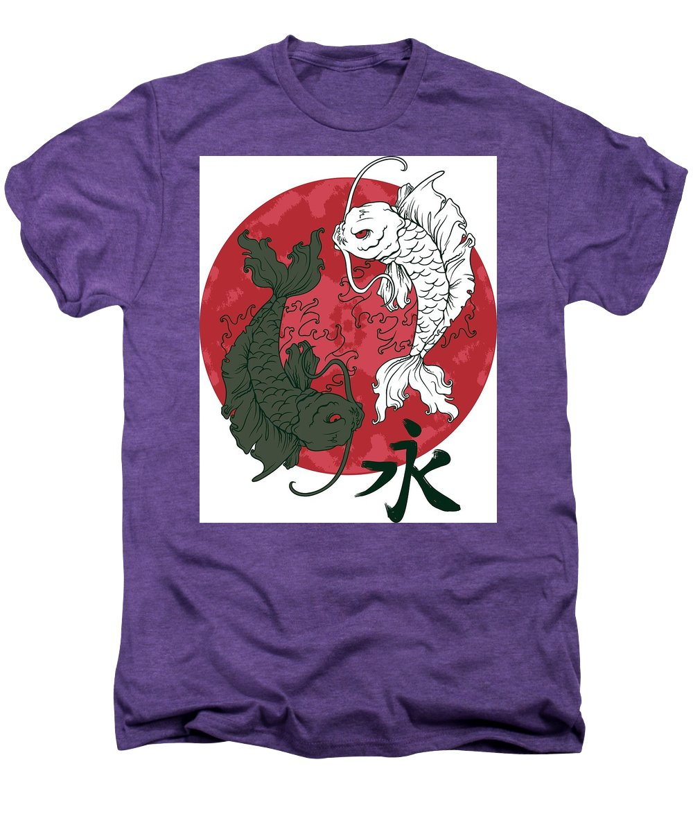 Japanese Men's Premium T-Shirt featuring the digital art Yin Yang Koi Fish by Passion Loft