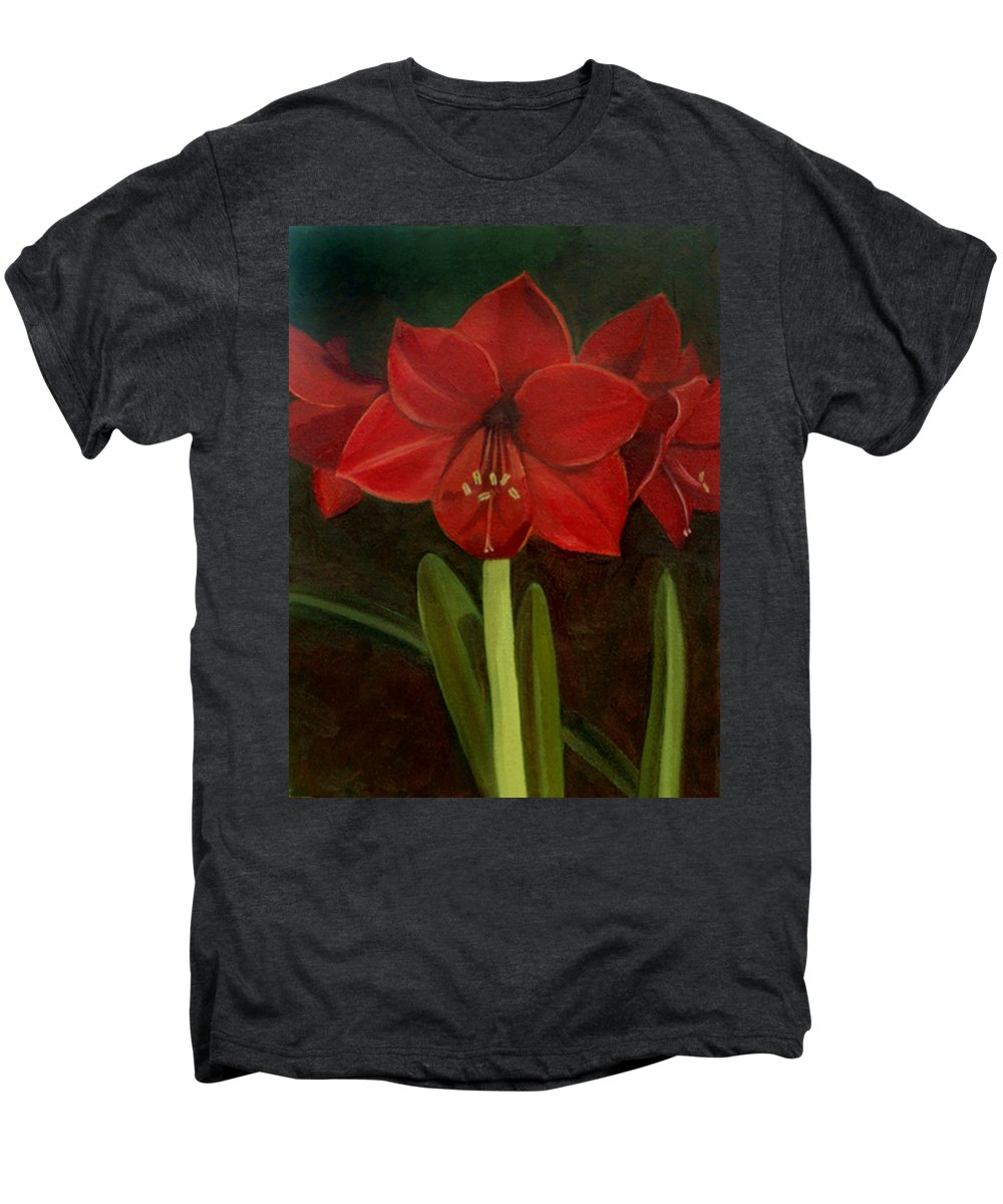 Amaryllis Men's Premium T-Shirt featuring the painting Amaryllis by Nancy Griswold