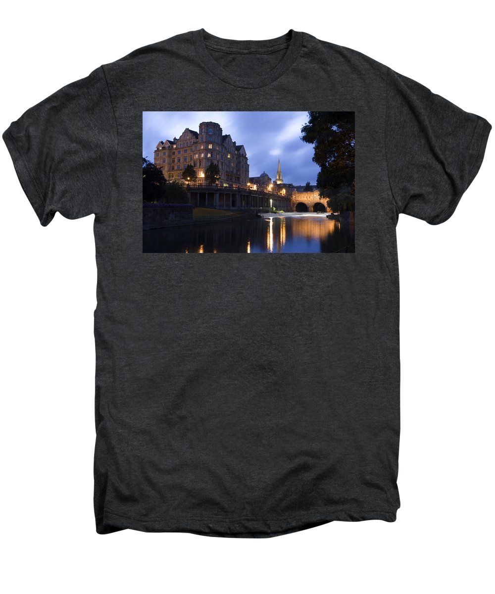 Bath Men's Premium T-Shirt featuring the photograph Bath City Spa Viewed Over The River Avon At Night by Mal Bray