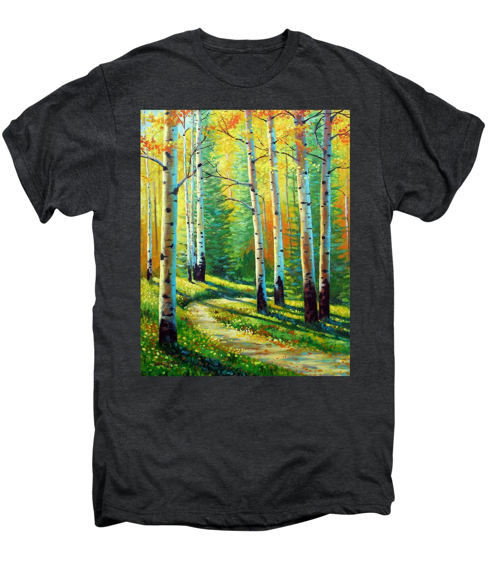 Landscape Men's Premium T-Shirt featuring the painting Colors Of The Season by David G Paul