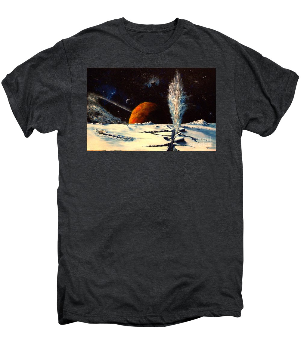 Landscape. Geyser Men's Premium T-Shirt featuring the painting Frozen Geyser by Murphy Elliott