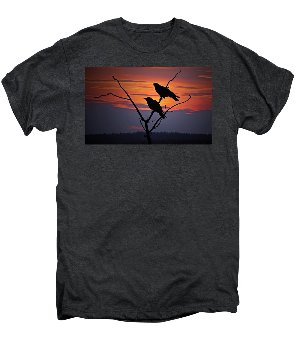 Raven Men's Premium T-Shirt featuring the photograph 2 Ravens by Ron Day