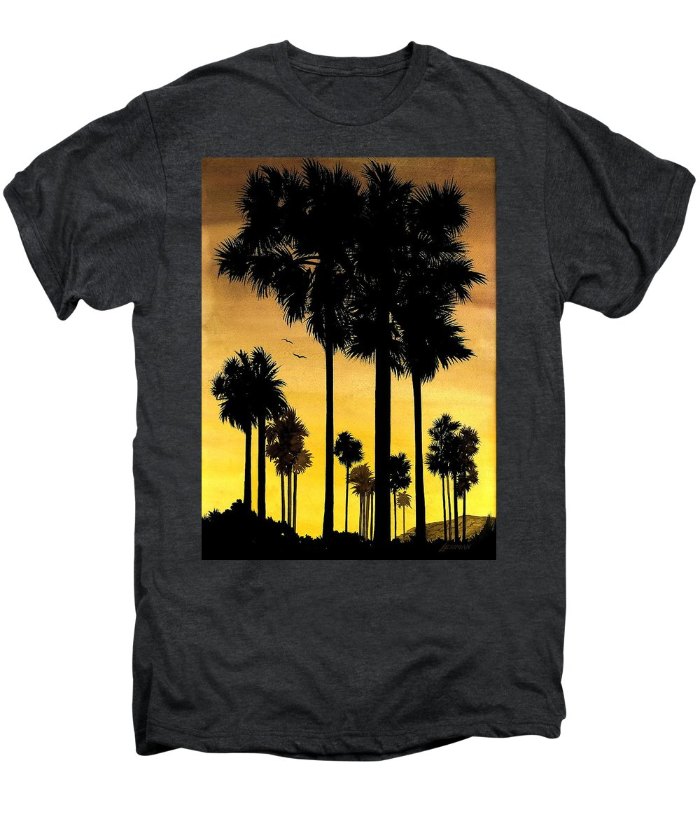 San Diego Sunset Men's Premium T-Shirt featuring the painting San Diego Sunset by Larry Lehman