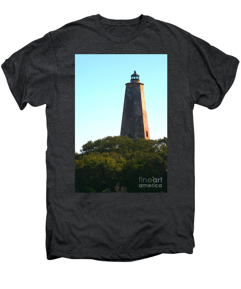 Lighthouse Men's Premium T-Shirt featuring the photograph The Lighthouse by Nadine Rippelmeyer