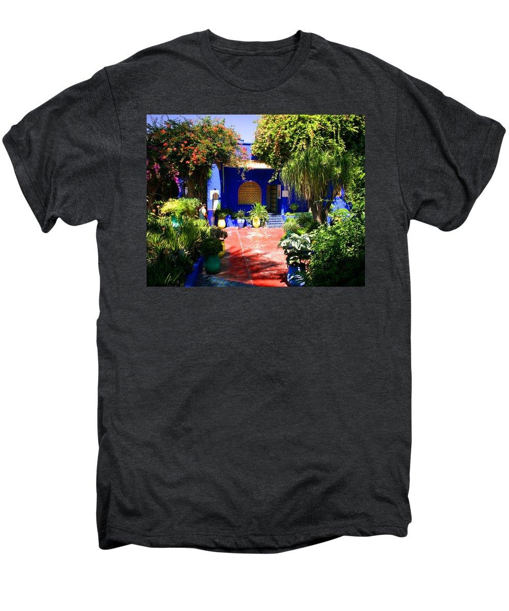 Majorelle Garden Men's Premium T-Shirt featuring the photograph Majorelle Garden Marrakesh Morocco by Ralph A Ledergerber-Photography