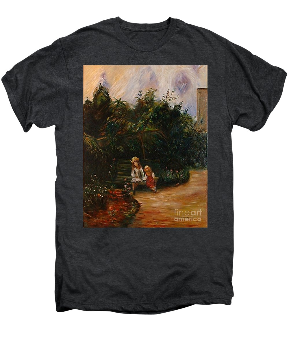 Classic Art Men's Premium T-Shirt featuring the painting A Corner Of The Garden At The Hermitage by Silvana Abel