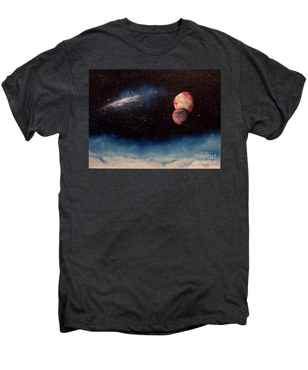 Landscape Men's Premium T-Shirt featuring the painting Above Alien Clouds by Murphy Elliott