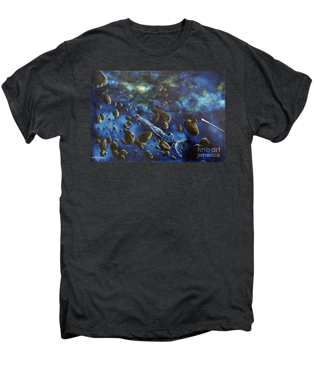 Canvas Men's Premium T-Shirt featuring the painting Accidental Asteroid by Murphy Elliott