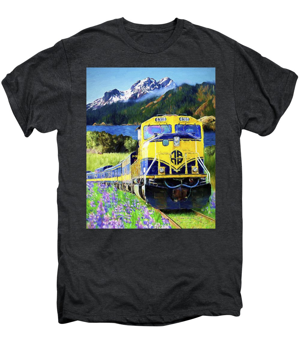 Railroad Men's Premium T-Shirt featuring the painting Alaska Railroad by David Wagner